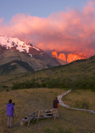 TINA AND JANE SHOOTING SUNRISE, PATAGONIA