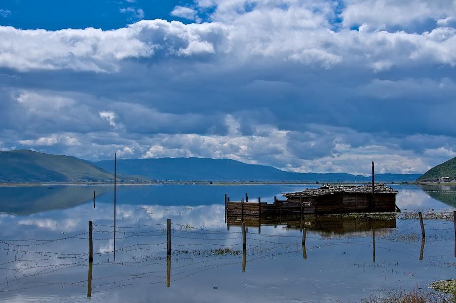 """BLUE: """"REFLECTIONS"""" NAPA LAKE, SHANGRI-LA"""