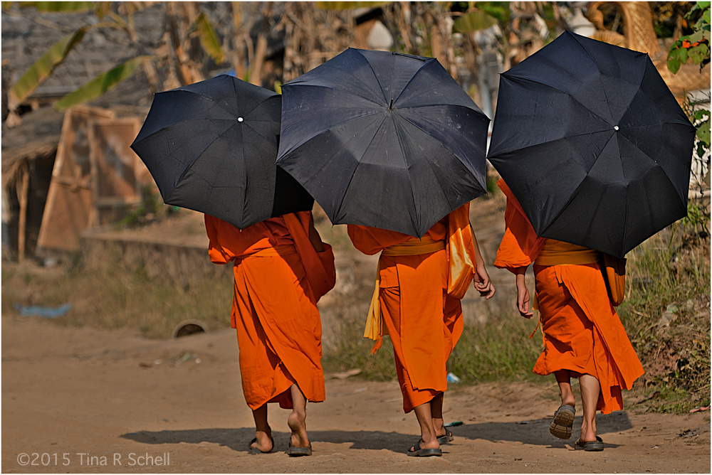 THREE MONKS WALKING