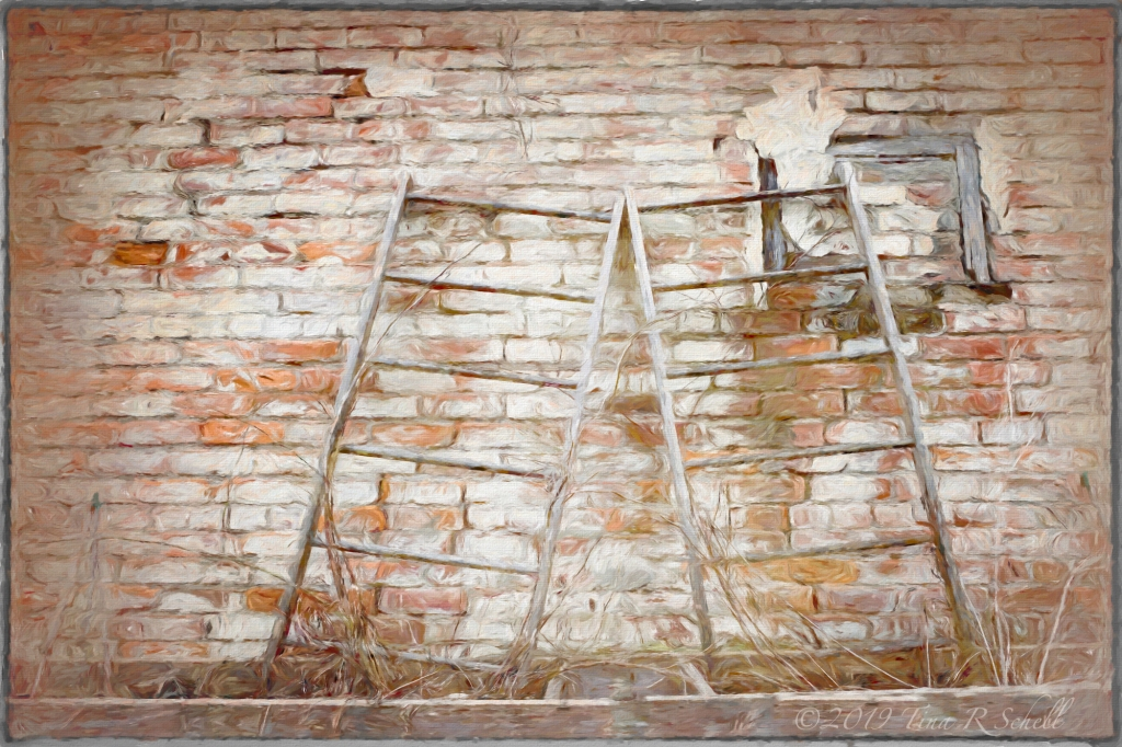 LEANING LADDERS, BRICK WALL, RUN DOWN