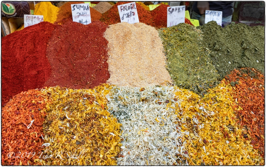 Various spices in a Jerusalem farmers market