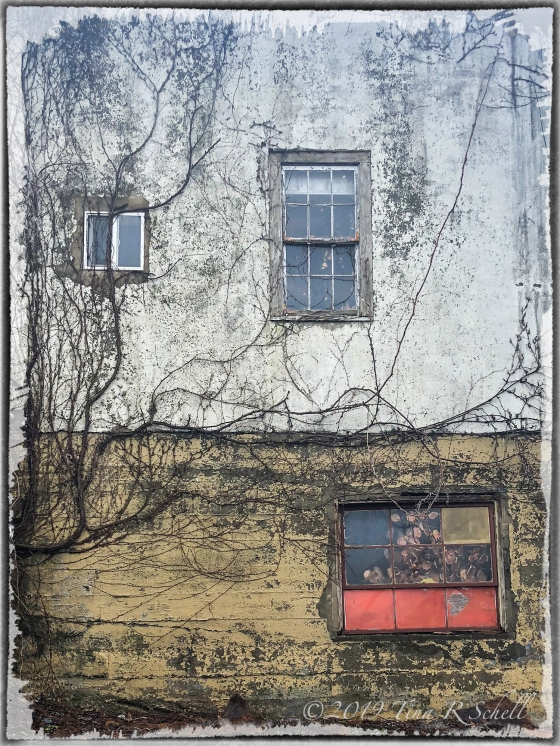 Decayed, run down, red window