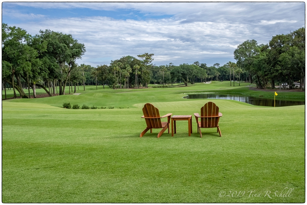 adirondack chairs overlooking Cougar golf course