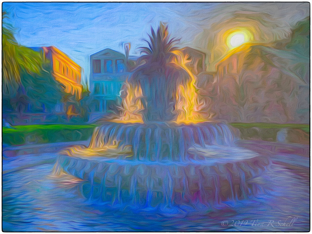 Charleston SC pineapple fountain impressionist