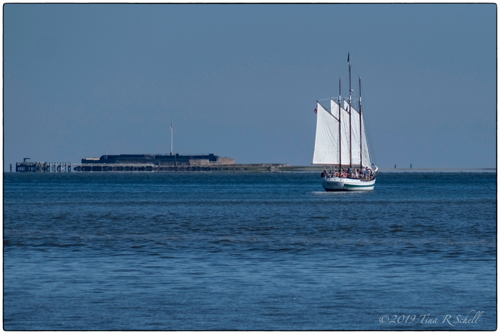 3-masted schooner at sea