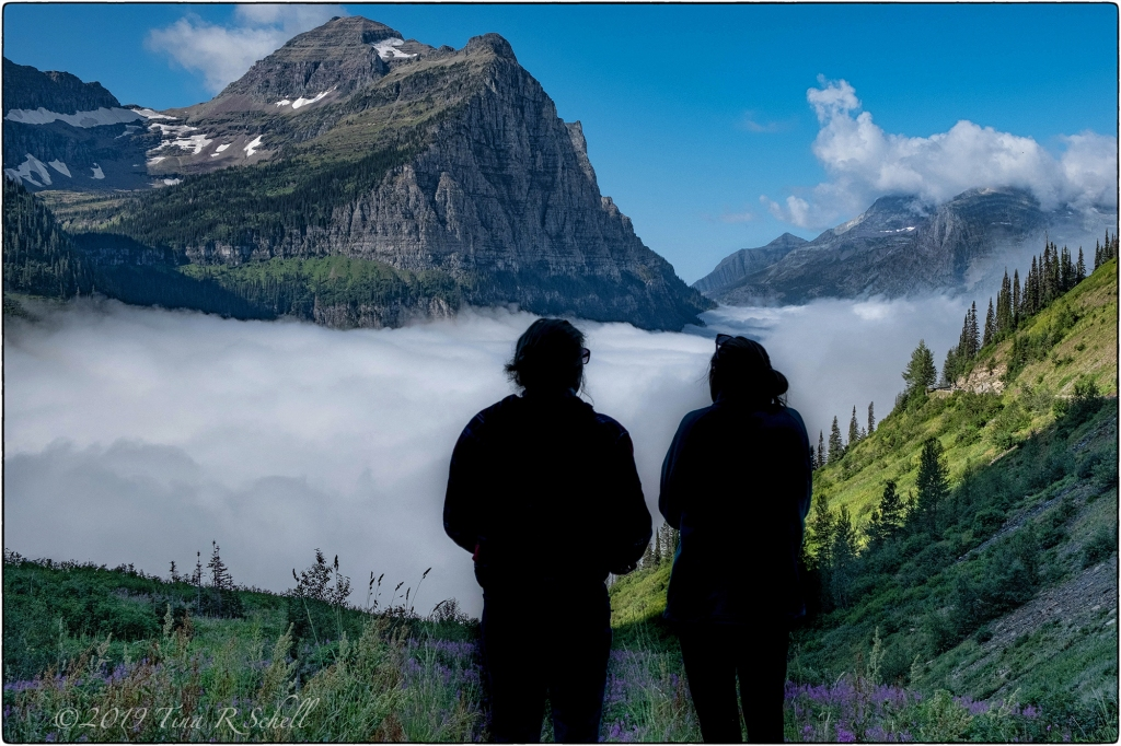 glacier mountain landscape, couple in silhouette