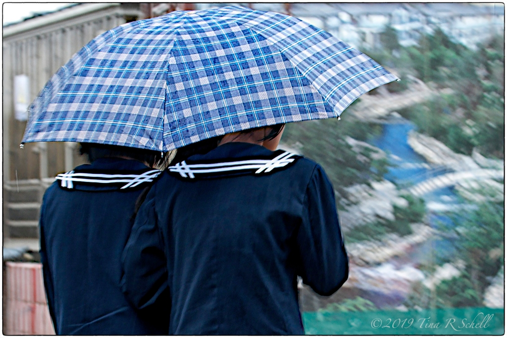 two friends, sharing, blue umbrella
