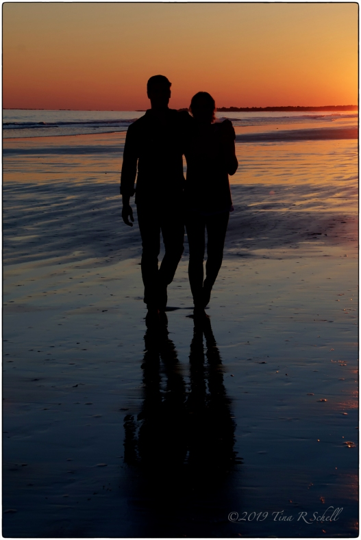 silhouette, beach, sunset, couple, love