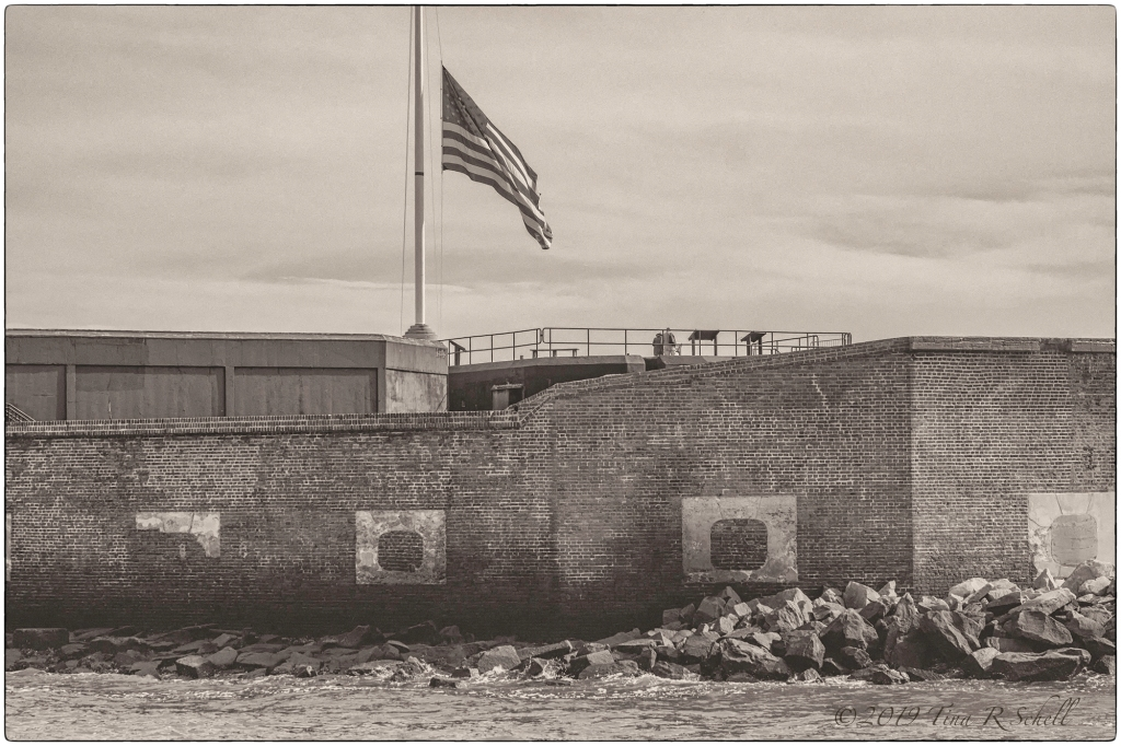 Fort Sumter, half-mast flag