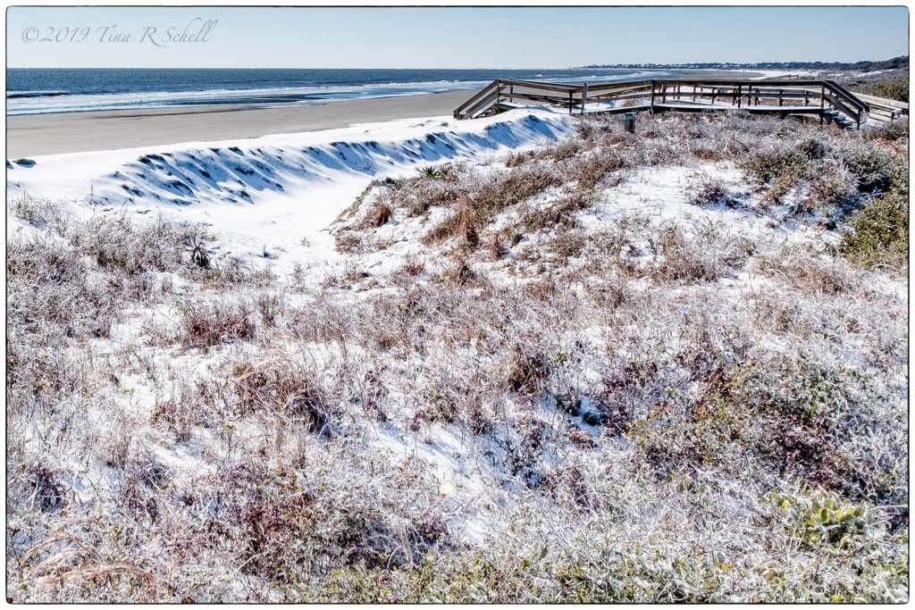 snow, Kiawah, Beach