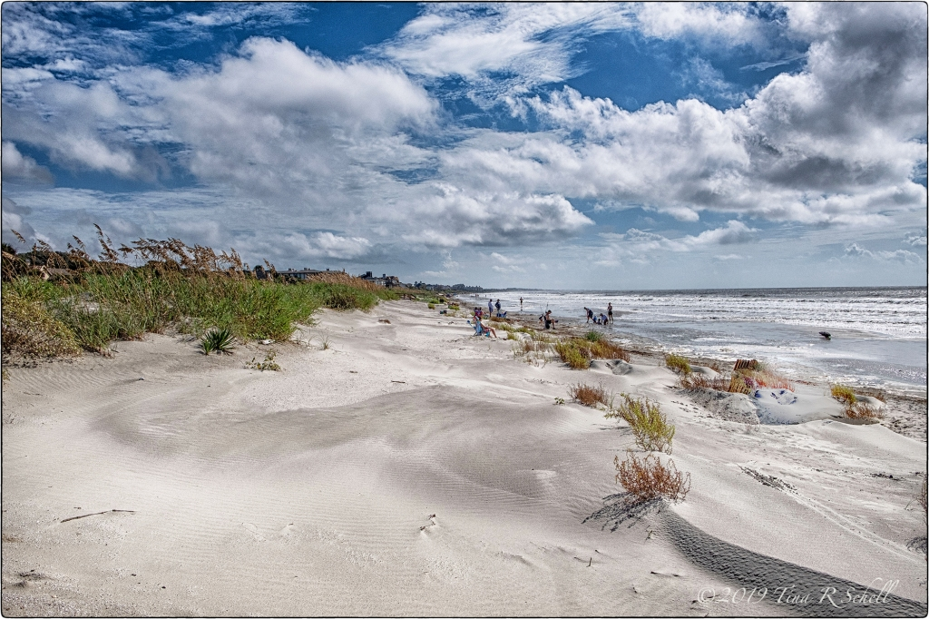 Clouds, beach, Kiawah Island, swimmers