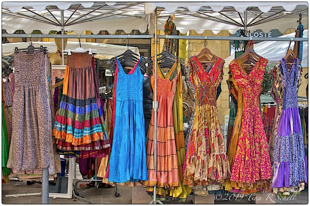 market, display, dresses
