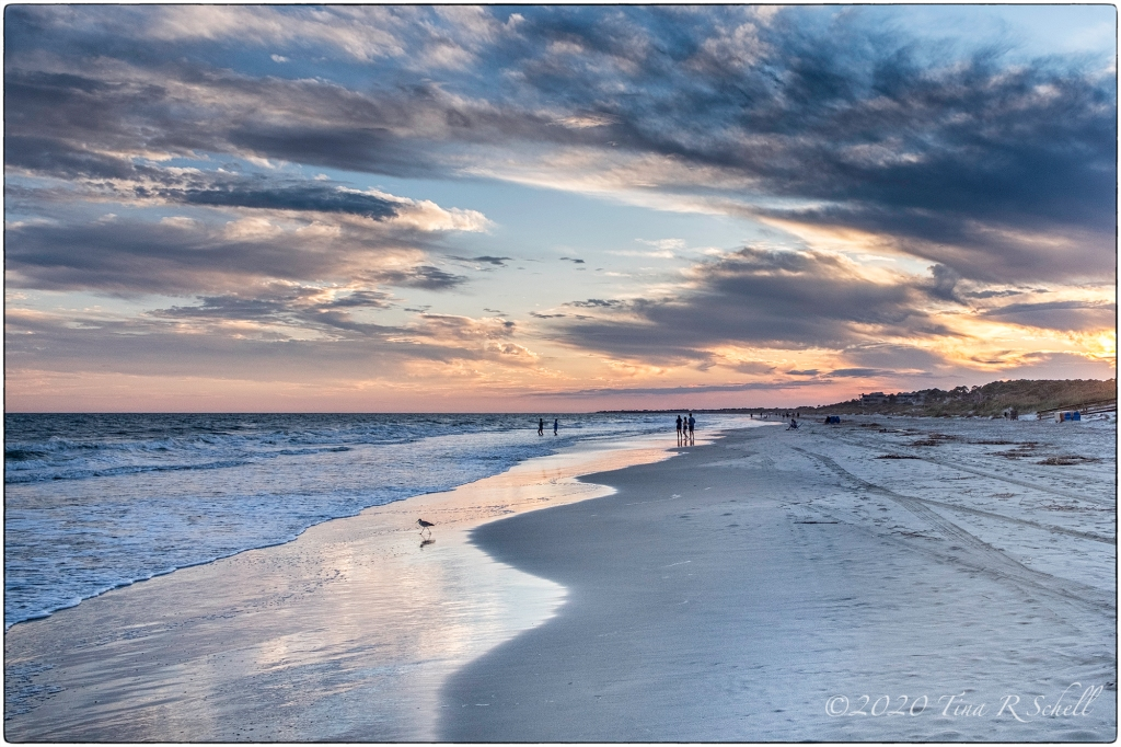 beach, sunset, kiawah