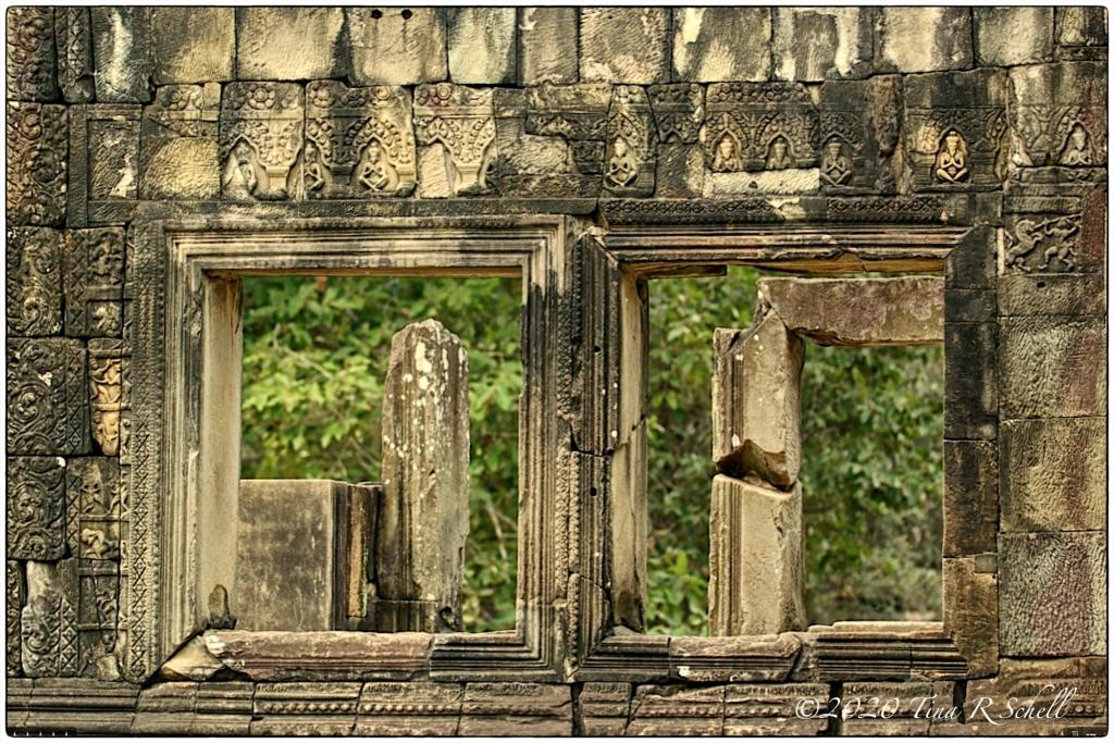 ancient stone, windows, Angkor Wat