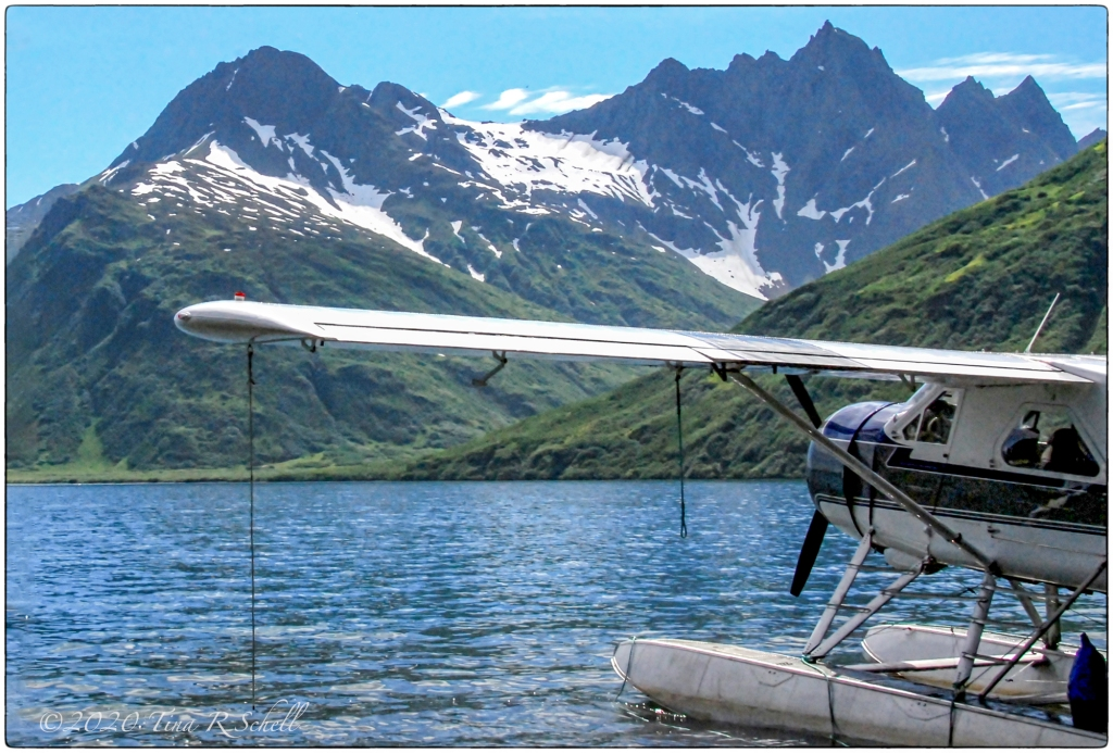 floatplane, lake, mountain, snow