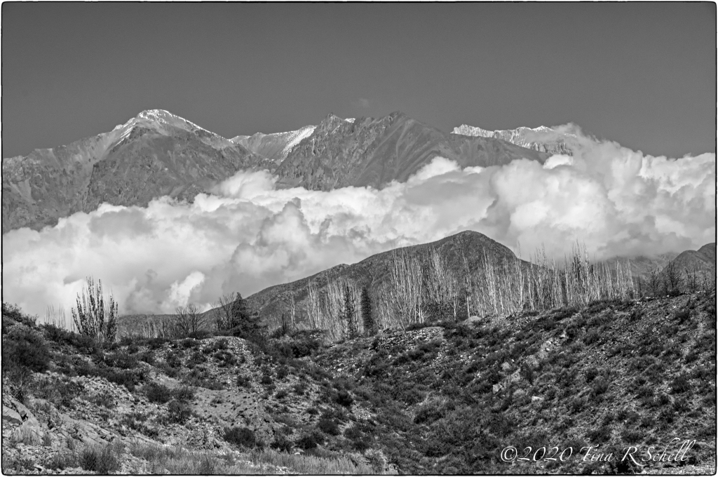 mountains, clouds, barren, landscape