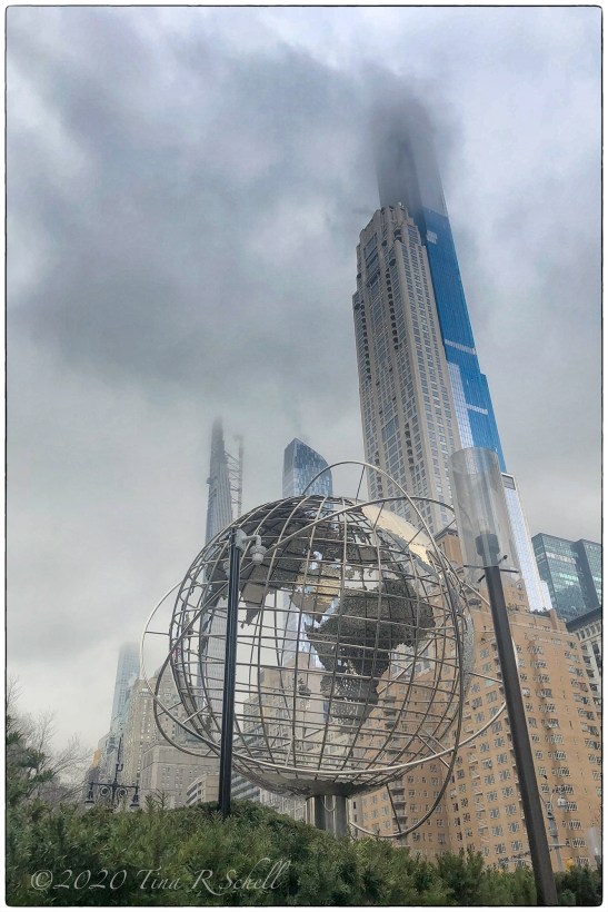 globe, sculpture, high-rise, NYC