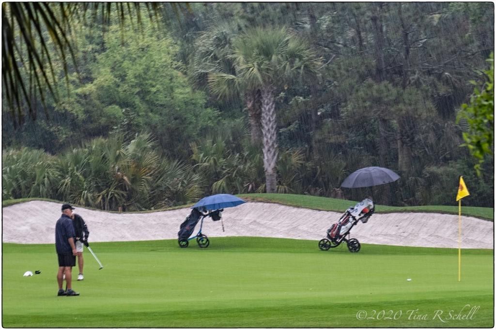 golfers, rain