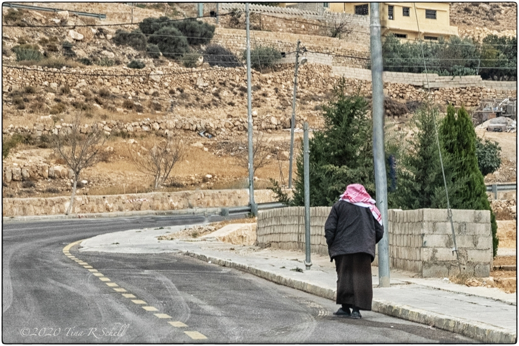road, hill, keffiyeh