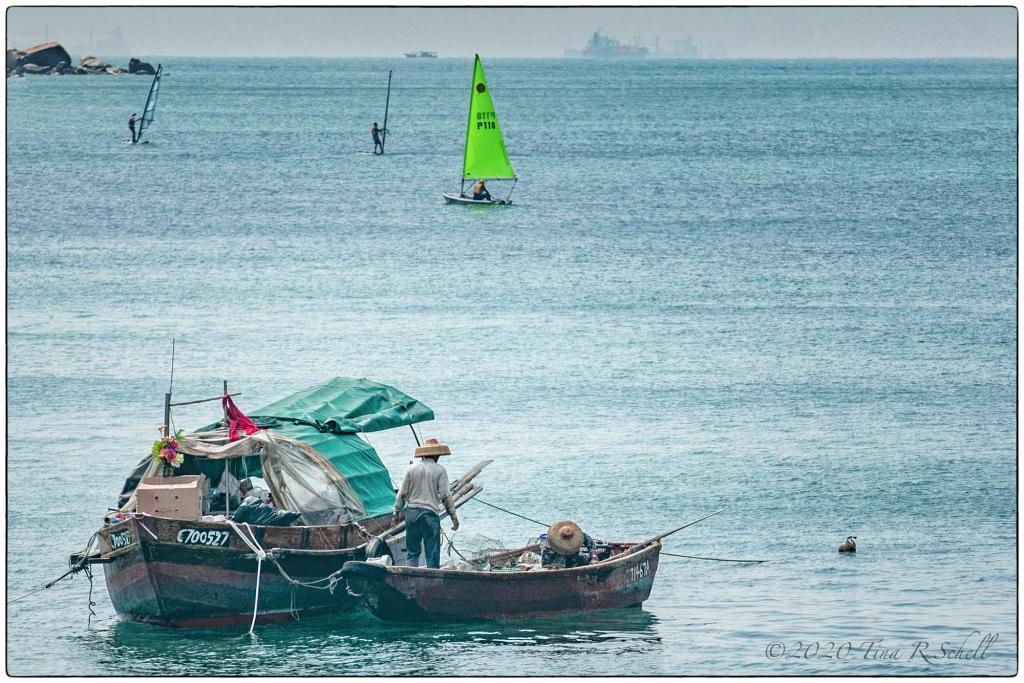 ancient junk, sailboarding, Hong Kong