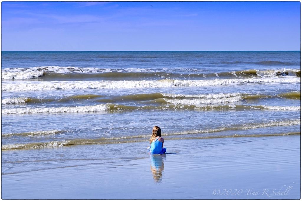 girl, seascape, ocean