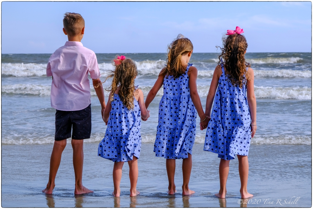 four, children, ocean, blue