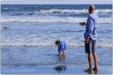 Ocean, dad, daughter, surf, play, iPhone