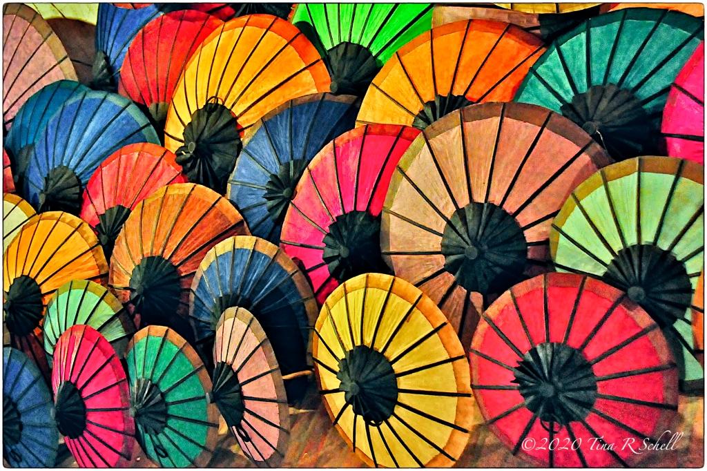 umbrellas, colorful, LAOS