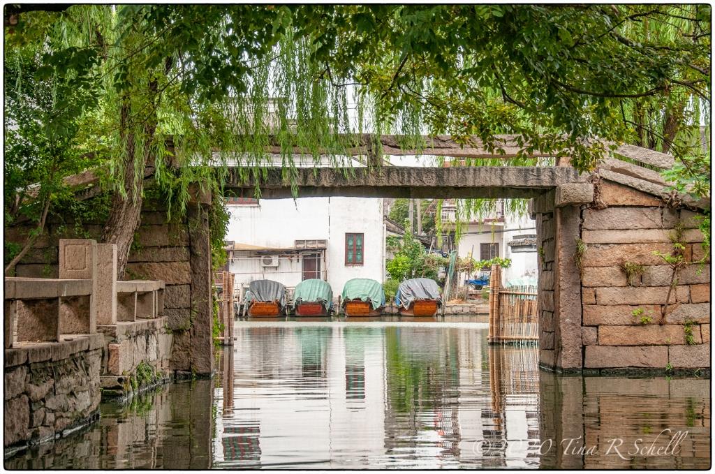four, boats, framed, reflection, symmetry