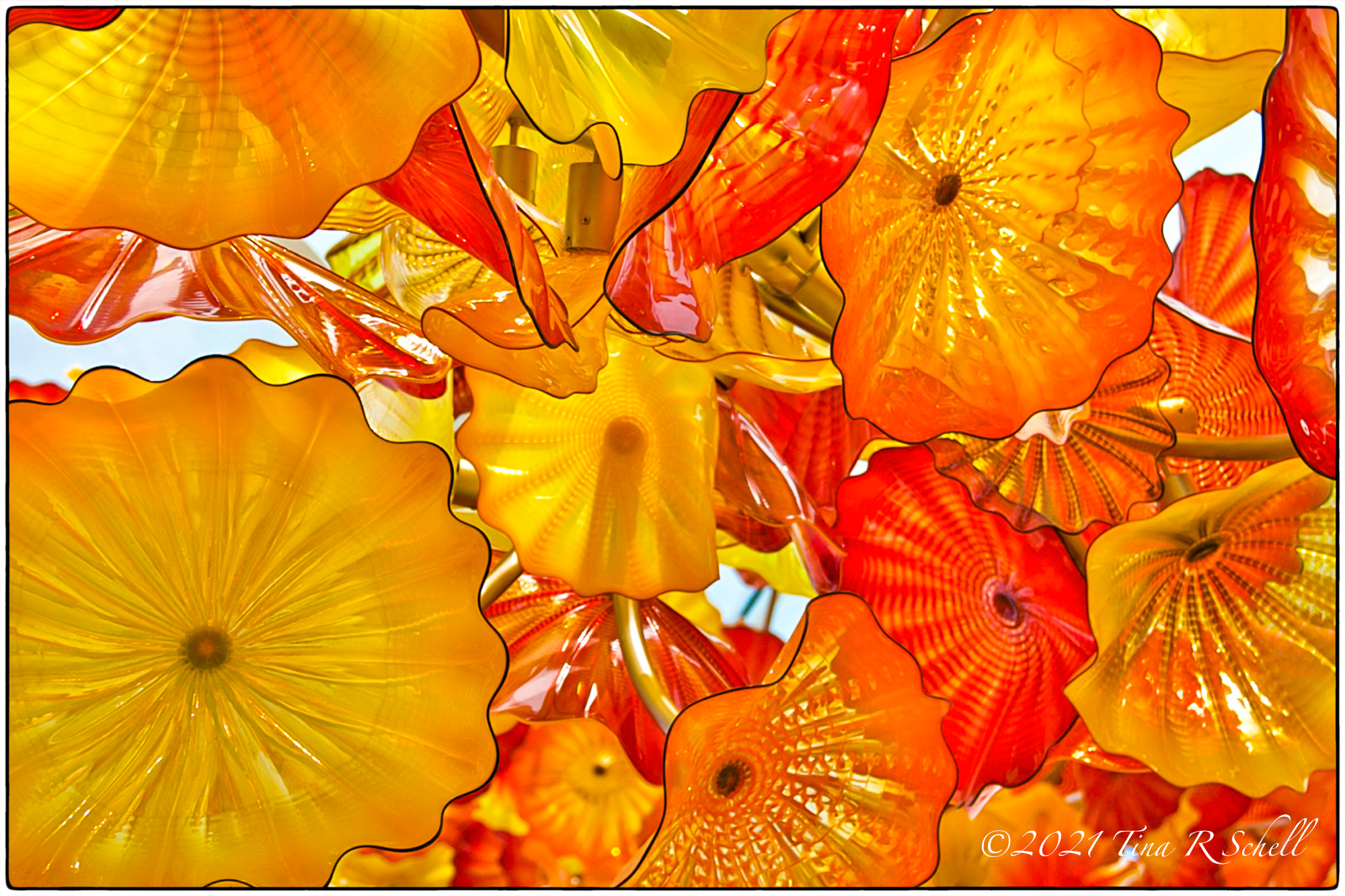 Chihuly, glass, yellow, orange, art