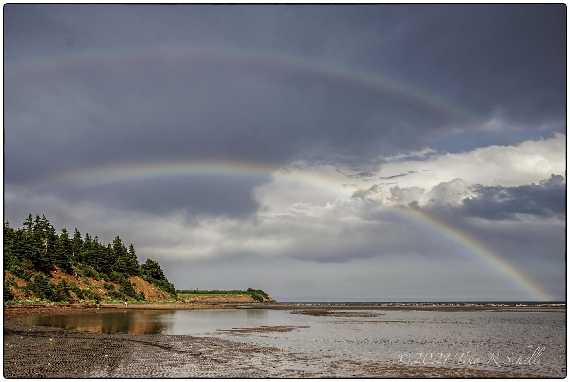 double rainbow, light, storm, clouds