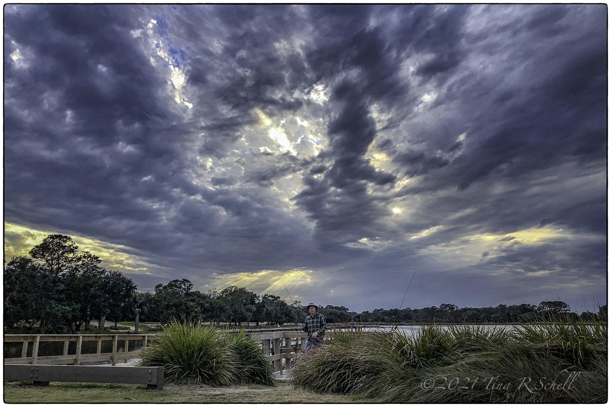 storm, kiawah island, fisherman, dock