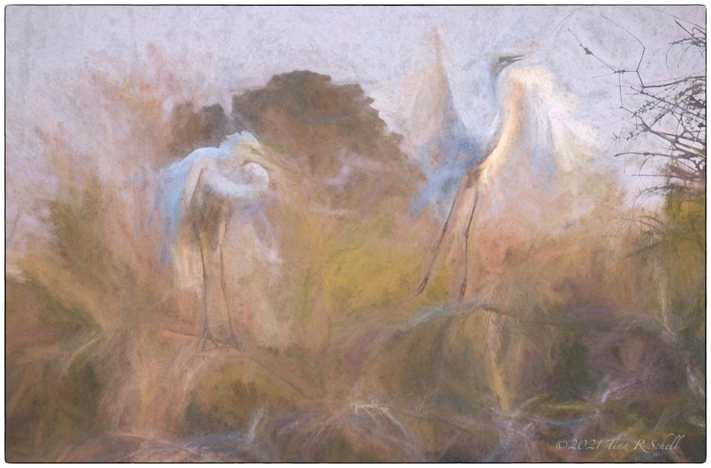 egrets, art, impressionist, birds