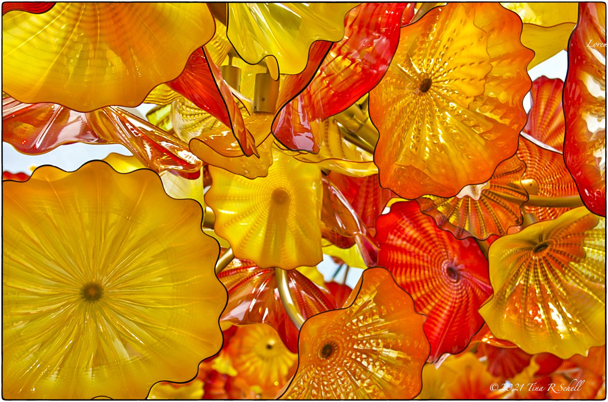 chihuly, glass, orange, yellow