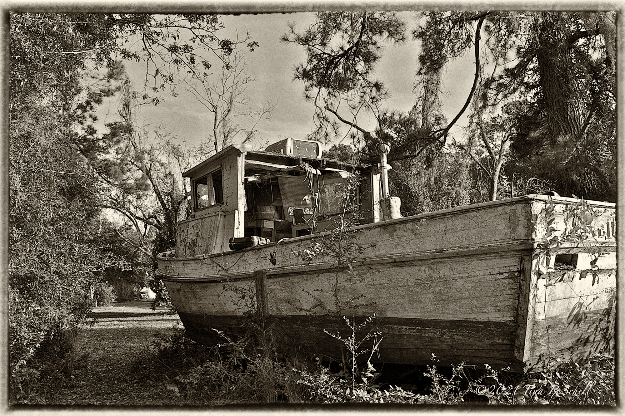 old, neglected, decayed, boat